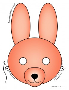 bunny mask colored 231x300 Printable Masks