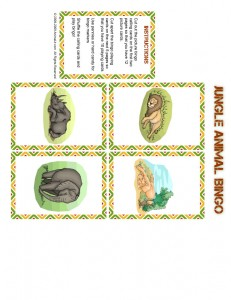 jungle bingo calling card 11 231x300 Free Printable Bingo Cards: Jungle Animal Picture Bingo