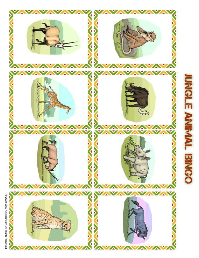 photo relating to Printable Bingo Calling Cards called Jungle Bingo Getting in contact with Playing cards Animal Jr.