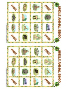jungle bingo playing card 11 231x300 Free Printable Bingo Cards: Jungle Animal Picture Bingo
