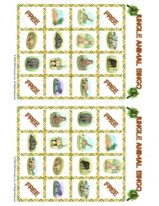 jungle bingo playing card 31 231x300 Free Printable Bingo Cards: Jungle Animal Picture Bingo