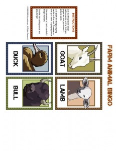 Farm Animal Bingo Calling Cards 1