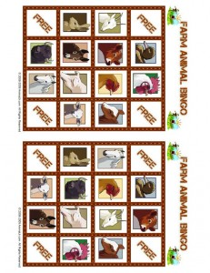 Farm Animal Bingo Playing Card 1