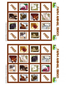 Farm Animal Bingo Playing Card 2