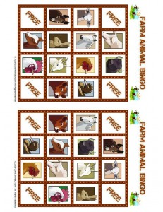 Farm Animal Bingo Playing Card 3