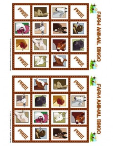 Farm Animal Bingo Card 4