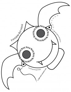 bat mask coloring page 231x300 Cute Printable Halloween Animal Paper Masks