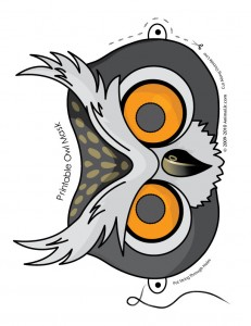 owl mask 231x300 Cute Printable Halloween Animal Paper Masks
