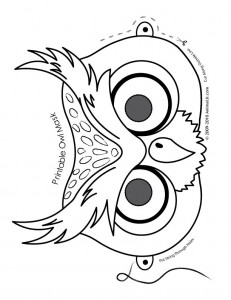 owl mask coloring page 231x300 Halloween Animal Masks to Print